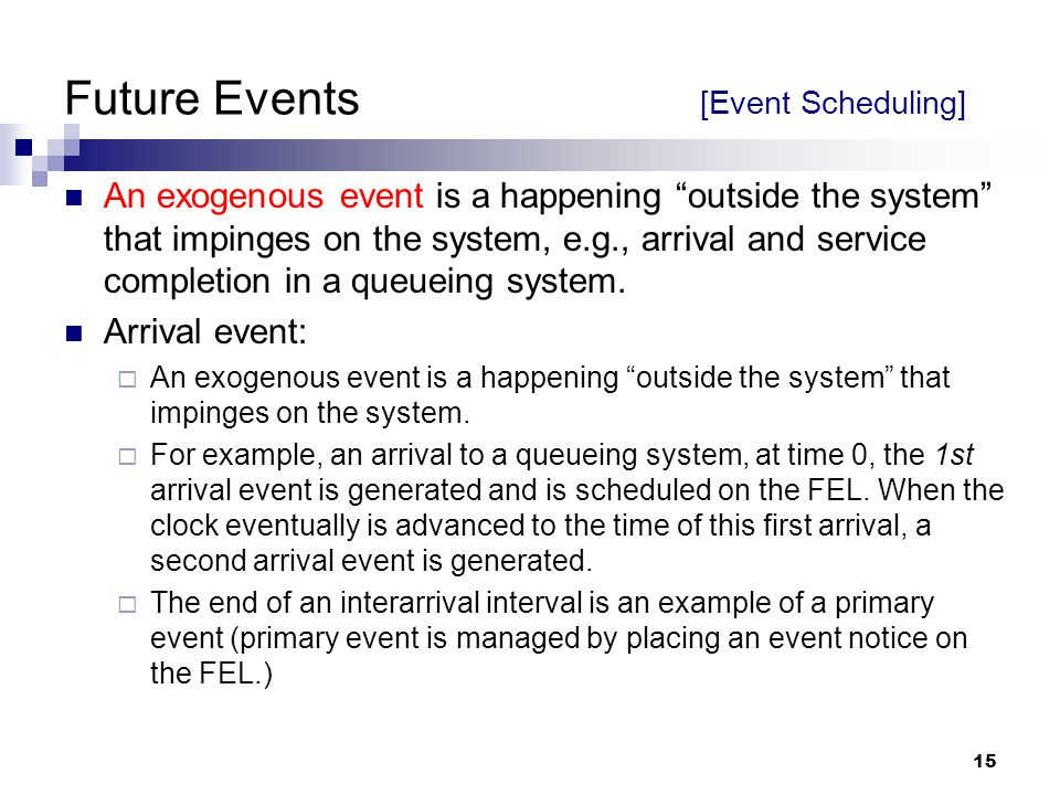 Future Events [Event Scheduling]